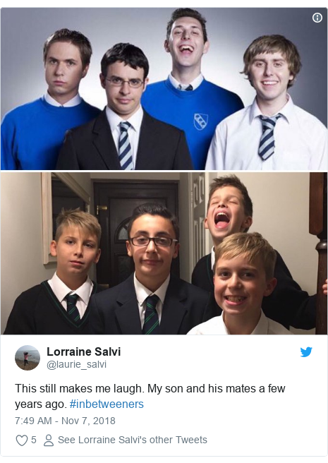 Twitter post by @laurie_salvi: This still makes me laugh. My son and his mates a few years ago. #inbetweeners