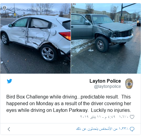 تويتر رسالة بعث بها @laytonpolice: Bird Box Challenge while driving...predictable result.  This happened on Monday as a result of the driver covering her eyes while driving on Layton Parkway.  Luckily no injuries.