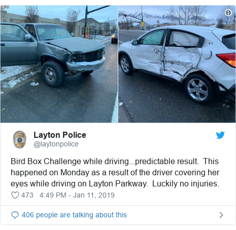 Twitter post by @laytonpolice: Bird Box Challenge while driving...predictable result.  This happened on Monday as a result of the driver covering her eyes while driving on Layton Parkway.  Luckily no injuries.