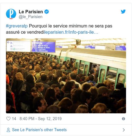 Twitter post by @le_Parisien: #greveratp Pourquoi le service minimum ne sera pas assuré ce vendredi