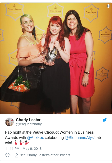 Twitter post by @leagueofcharly: Fab night at the Veuve Clicquot Women in Business Awards with @AlixFox celebrating @StephanieAlys' fab win! 💃🏻💃🏻💃🏻