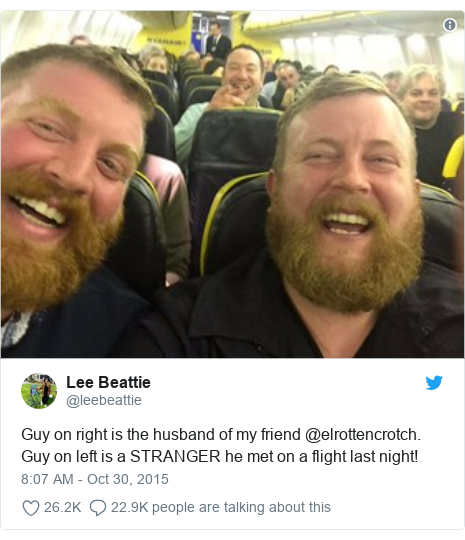 Twitter post by @leebeattie: Guy on right is the husband of my friend @elrottencrotch. Guy on left is a STRANGER he met on a flight last night!