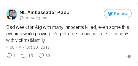 د @leeuwengew په مټ ټویټر  تبصره : Sad week for Afg with many innocents killed, even some this evening while praying. Perpetrators know no limits. Thoughts with victims&family