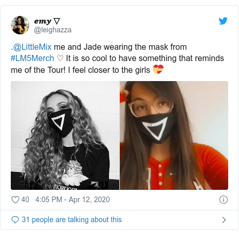 Twitter post by @leighazza: .@LittleMix me and Jade wearing the mask from #LM5Merch ♡ It is so cool to have something that reminds me of the Tour! I feel closer to the girls 💝