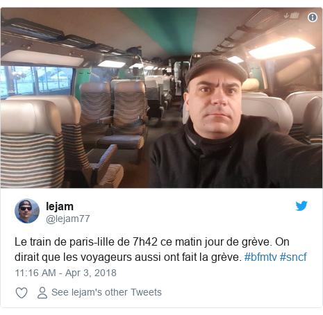 Twitter post by @lejam77: Le train de paris-lille de 7h42 ce matin jour de grève. On dirait que les voyageurs aussi ont fait la grève. #bfmtv #sncf