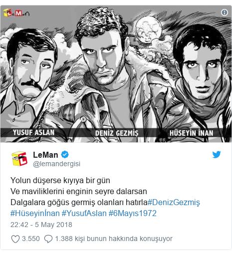 @lemandergisi tarafından yapılan Twitter paylaşımı: Yolun düşerse kıyıya bir günVe maviliklerini enginin seyre dalarsanDalgalara göğüs germiş olanları hatırla#DenizGezmiş #Hüseyinİnan #YusufAslan #6Mayıs1972
