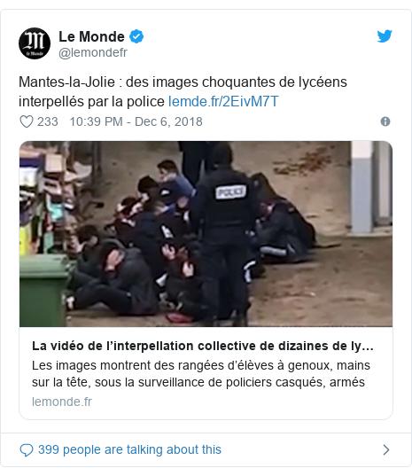Twitter post by @lemondefr: Mantes-la-Jolie  des images choquantes de lycéens interpellés par la police