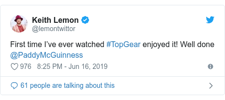 Twitter post by @lemontwittor: First time I've ever watched #TopGear enjoyed it! Well done @PaddyMcGuinness