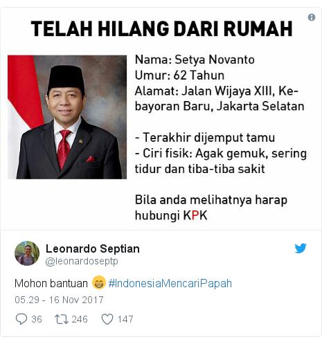 Twitter pesan oleh @leonardoseptp: Mohon bantuan 😁 #IndonesiaMencariPapah