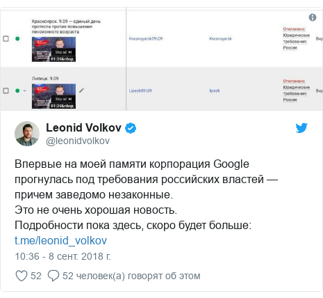 Twitter пост, автор: @leonidvolkov: Впервые на моей памяти корпорация Google прогнулась под требования российских властей — причем заведомо незаконные. Это не очень хорошая новость. Подробности пока здесь, скоро будет больше