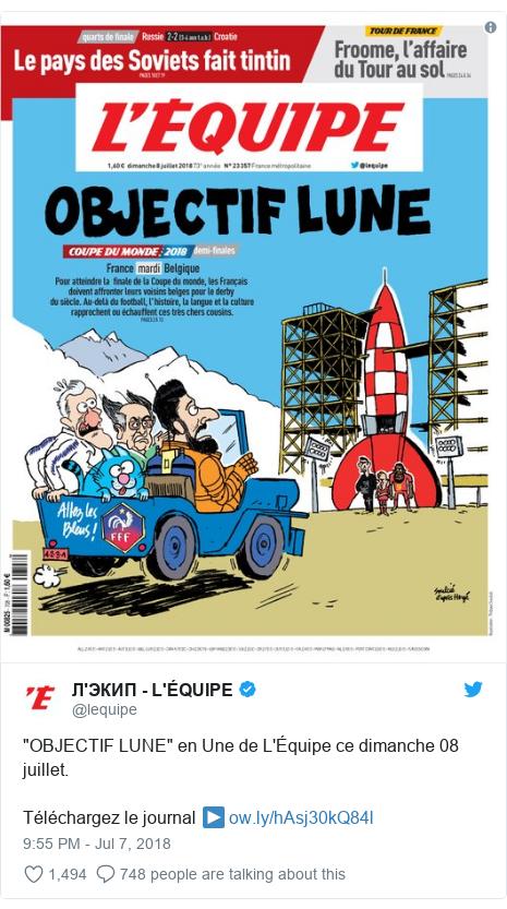 """Twitter post by @lequipe: """"OBJECTIF LUNE"""" en Une de L'Équipe ce dimanche 08 juillet.Téléchargez le journal ▶️"""