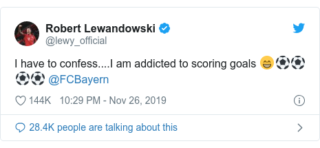 Twitter ubutumwa bwa @lewy_official: I have to confess....I am addicted to scoring goals 😁⚽⚽⚽⚽ @FCBayern