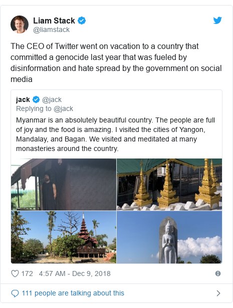 Twitter post by @liamstack: The CEO of Twitter went on vacation to a country that committed a genocide last year that was fueled by disinformation and hate spread by the government on social media