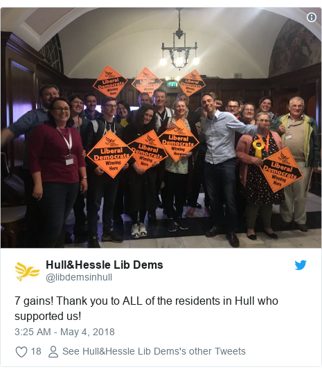 Twitter post by @libdemsinhull: 7 gains! Thank you to ALL of the residents in Hull who supported us!