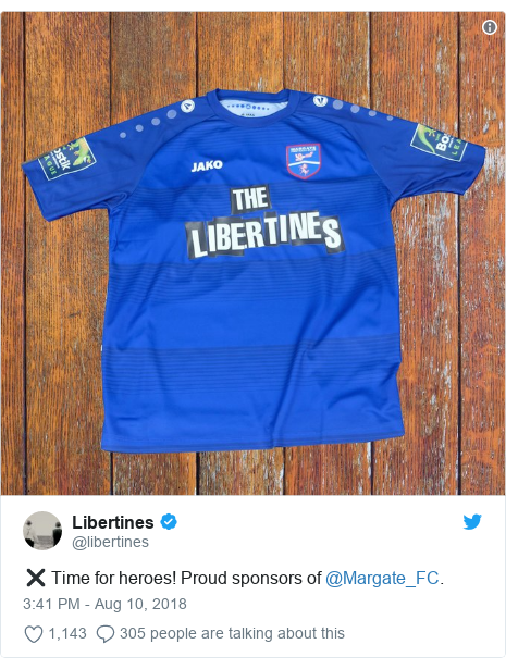 Twitter post by @libertines: ✖️ Time for heroes! Proud sponsors of @Margate_FC.