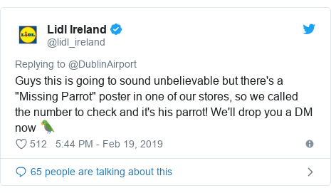 """Twitter post by @lidl_ireland: Guys this is going to sound unbelievable but there's a """"Missing Parrot"""" poster in one of our stores, so we called the number to check and it's his parrot! We'll drop you a DM now 🦜"""