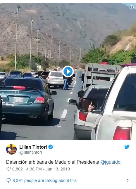 Twitter post by @liliantintori: Detención arbitraria de Maduro al Presidente @jguaido
