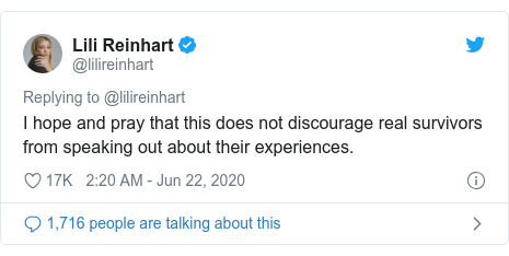 Twitter post by @lilireinhart: I hope and pray that this does not discourage real survivors from speaking out about their experiences.