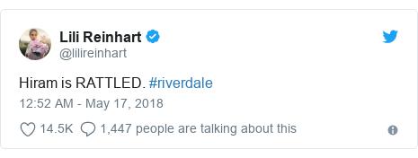 Twitter post by @lilireinhart: Hiram is RATTLED. #riverdale