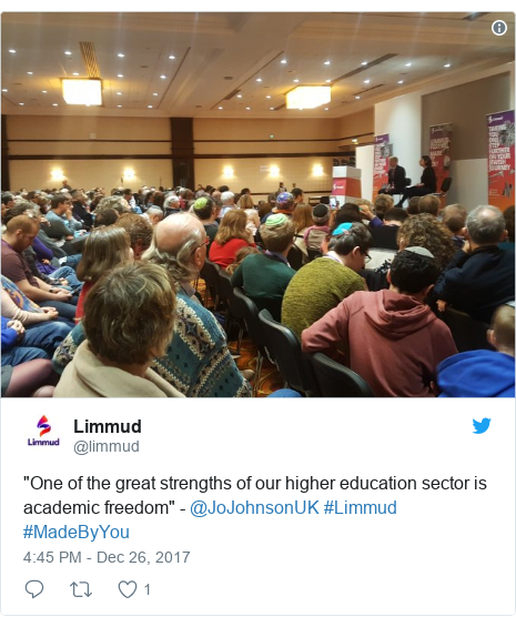 "Twitter post by @limmud: ""One of the great strengths of our higher education sector is academic freedom"" - @JoJohnsonUK #Limmud #MadeByYou"
