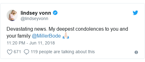 Twitter post by @lindseyvonn: Devastating news. My deepest condolences to you and your family @MillerBode 🙏🏻