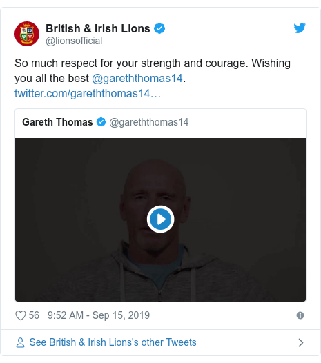 Twitter post by @lionsofficial: So much respect for your strength and courage. Wishing you all the best @gareththomas14.