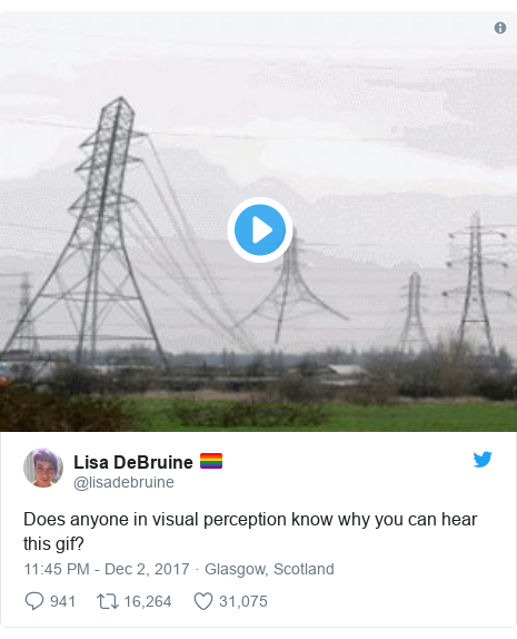 Twitter post by @lisadebruine: Does anyone in visual perception know why you can hear this gif?
