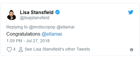 Twitter post by @lisajstansfield: Congratulations @ellamai
