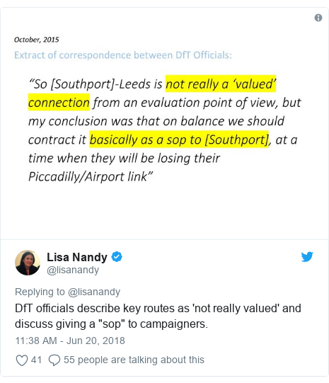 "Twitter post by @lisanandy: DfT officials describe key routes as 'not really valued' and discuss giving a ""sop"" to campaigners."