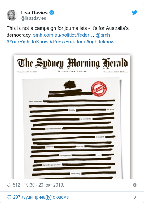 Twitter post by @lisazdavies: This is not a campaign for journalists - it's for Australia's democracy. … @smh #YourRightToKnow #PressFreedom #righttoknow