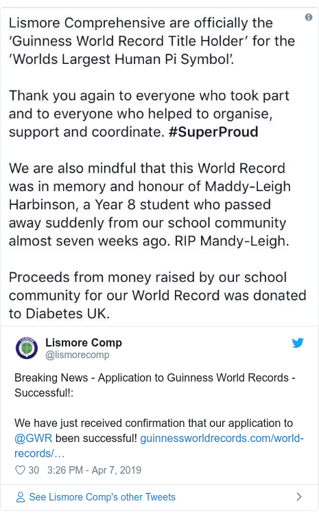 Twitter post by @lismorecomp: Breaking News - Application to Guinness World Records - Successful! We have just received confirmation that our application to @GWR been successful!