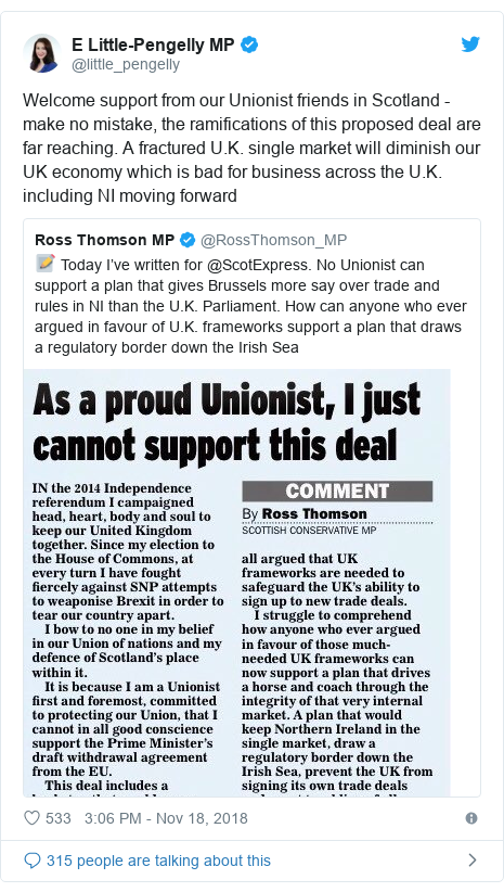 Twitter post by @little_pengelly: Welcome support from our Unionist friends in Scotland - make no mistake, the ramifications of this proposed deal are far reaching. A fractured U.K. single market will diminish our UK economy which is bad for business across the U.K. including NI moving forward