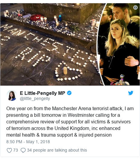 Twitter post by @little_pengelly: One year on from the Manchester Arena terrorist attack, I am presenting a bill tomorrow in Westminster calling for a comprehensive review of support for all victims & survivors of terrorism across the United Kingdom, inc enhanced mental health & trauma support & injured pension