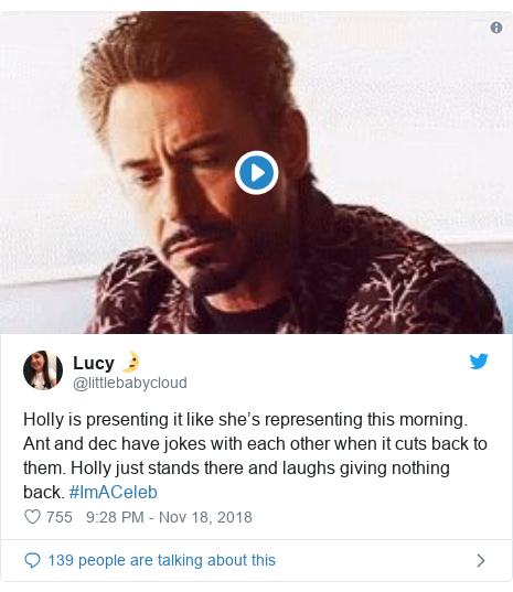 Twitter post by @littlebabycloud: Holly is presenting it like she's representing this morning. Ant and dec have jokes with each other when it cuts back to them. Holly just stands there and laughs giving nothing back. #ImACeleb