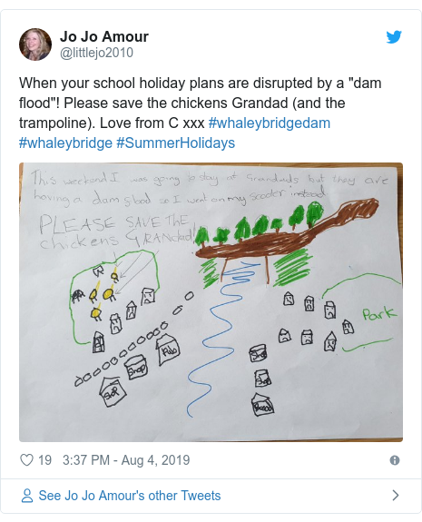 """Twitter post by @littlejo2010: When your school holiday plans are disrupted by a """"dam flood""""! Please save the chickens Grandad (and the trampoline). Love from C xxx #whaleybridgedam #whaleybridge #SummerHolidays"""