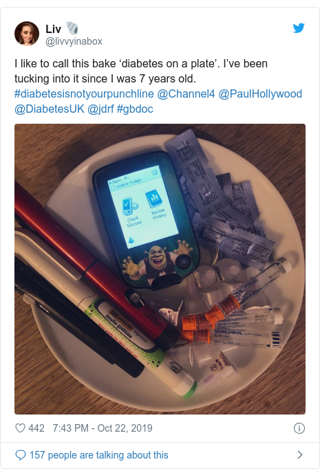 Twitter post by @livvyinabox: I like to call this bake 'diabetes on a plate'. I've been tucking into it since I was 7 years old. #diabetesisnotyourpunchline @Channel4 @PaulHollywood @DiabetesUK @jdrf #gbdoc