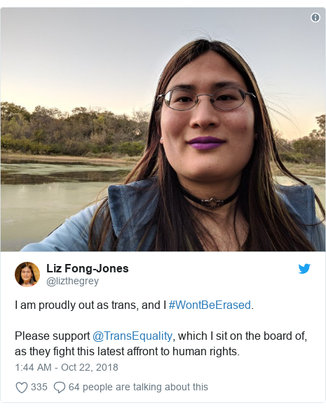 Twitter post by @lizthegrey: I am proudly out as trans, and I #WontBeErased.Please support @TransEquality, which I sit on the board of, as they fight this latest affront to human rights.