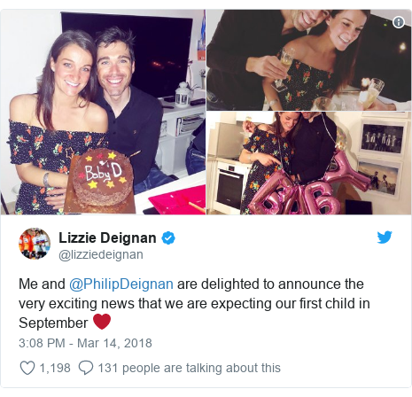 Twitter post by @lizziedeignan: Me and @PhilipDeignan are delighted to announce the very exciting news that we are expecting our first child in September ❤️