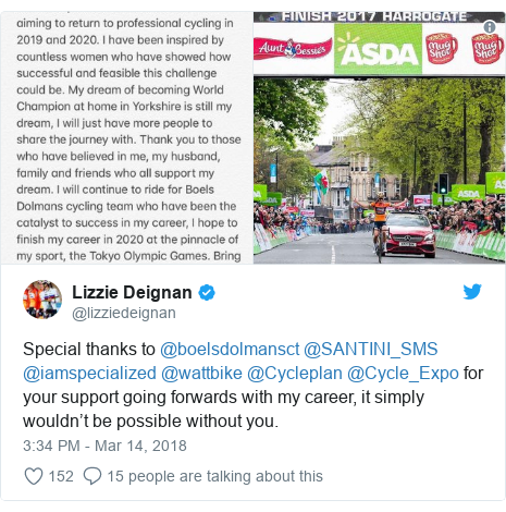 Twitter post by @lizziedeignan: Special thanks to @boelsdolmansct @SANTINI_SMS @iamspecialized @wattbike @Cycleplan @Cycle_Expo for your support going forwards with my career, it simply wouldn't be possible without you.