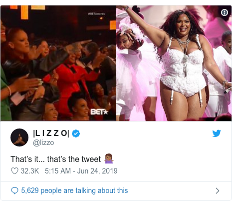 Twitter post by @lizzo: That's it... that's the tweet 🤷🏾‍♀️