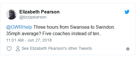 Twitter post by @lizzypearson: @GWRHelp Three hours from Swansea to Swindon. 35mph average? Five coaches instead of ten..