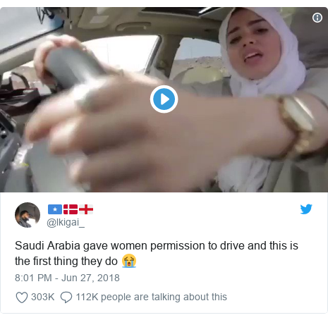 Twitter post by @lkigai_: Saudi Arabia gave women permission to drive and this is the first thing they do 😭