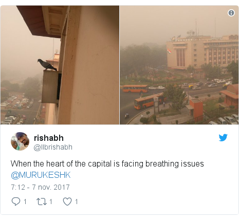 Publicación de Twitter por @llbrishabh: When the heart of the capital is facing breathing issues @MURUKESHK