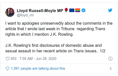 Twitter post by @lloyd_rm: I want to apologies unreservedly about the comments in the article that I wrote last week in Tribune  regarding Trans rights in which I mention J.K. Rowling. J.K. Rowling's first disclosures of domestic abuse and sexual assault in her recent article on Trans issues.. 1/2