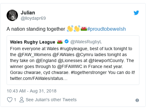 Twitter post by @lloydapr69: A nation standing together 👋👋🏴#proudtobewelsh