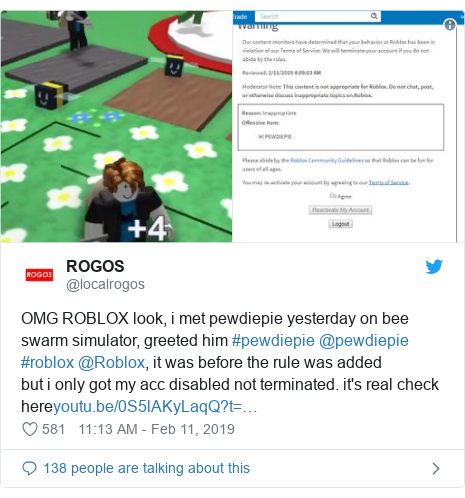 Twitter post by @localrogos: OMG ROBLOX look, i met pewdiepie yesterday on bee swarm simulator, greeted him #pewdiepie @pewdiepie #roblox @Roblox, it was before the rule was addedbut i only got my acc disabled not terminated. it's real check here