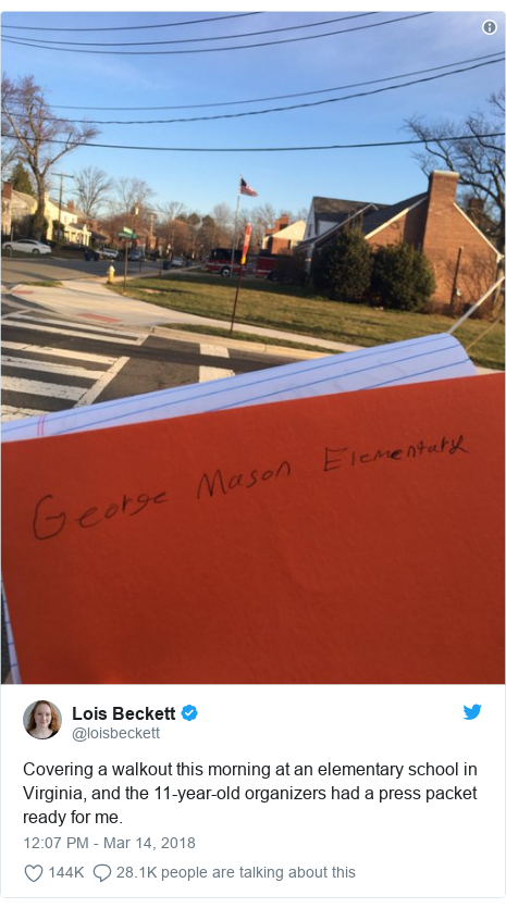 Twitter post by @loisbeckett: Covering a walkout this morning at an elementary school in Virginia, and the 11-year-old organizers had a press packet ready for me.