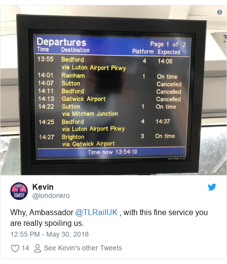 Twitter post by @londonkro: Why, Ambassador @TLRailUK , with this fine service you are really spoiling us.