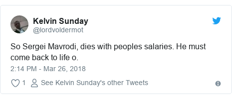 Twitter post by @lordvoldermot: So Sergei Mavrodi, dies with peoples salaries. He must come back to life o.