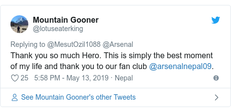 Twitter post by @lotuseaterking: Thank you so much Hero. This is simply the best moment of my life and thank you to our fan club @arsenalnepal09.